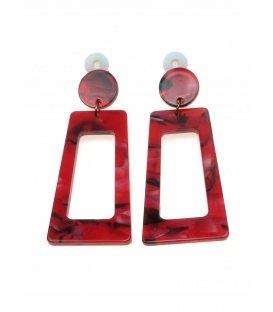 Rode langwerpige rechthoekige oorclips