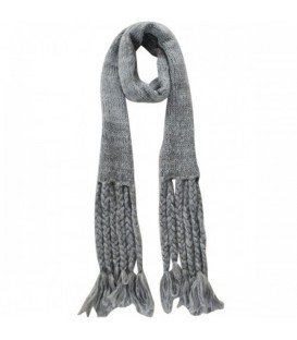 Gebreide grijze sjaal met lange franjes