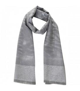 Grijze sjaal met glansdraad en print