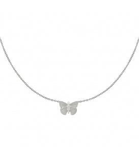 Zilverkleurige halsketting met vlinderbedel