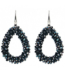 Zwart gekleurde glaskralen oorbellen