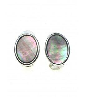 Oorclips in zilverkleurige zetting met ovale parelmoer inleg