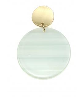 Oorclips met ronde hanger groen grijs gestreept