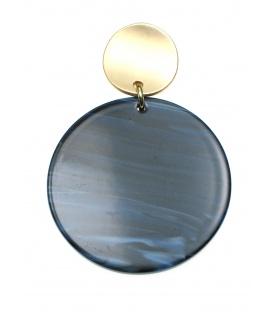 Oorclips met ronde blauwe hanger