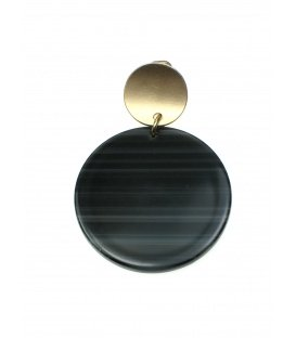 Oorclips met taupe kleurige ronde hanger