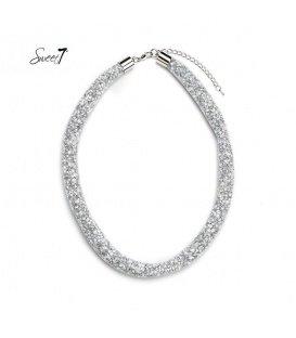 Witte korte mesh halsketting