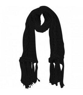 Zwarte gebreide sjaal met lange franjes