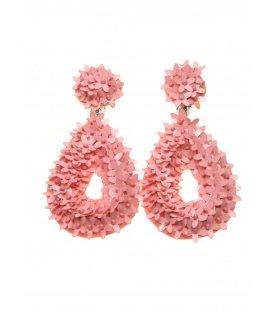 Koraal roze druppelvorming oorclips met kraaltjes