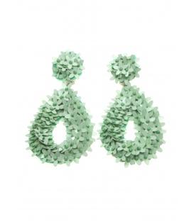 Mint groene druppelvorming oorclips met kraaltjes