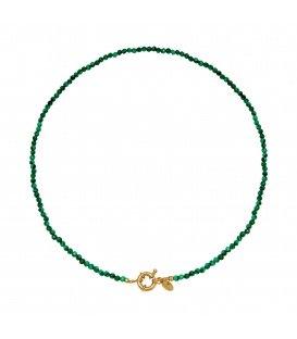 Groene korte glas kralen halsketting