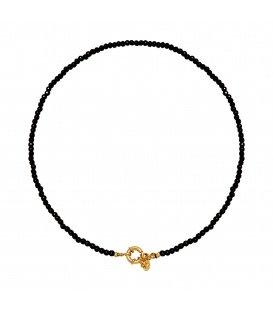Zwarte korte glas kralen halsketting