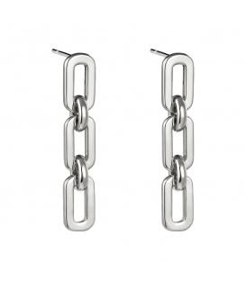 Zilverkleurige oorbellen met als hanger 3 ovale elementen