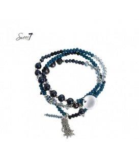 Blauwe 3 strengs kralen armband met bedels