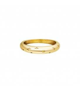 Goudkleurige ring met sterrenpatroon (18 mm)