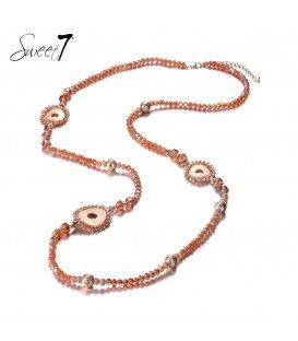 Terra cotta kleurige lange glas kralen halsketting