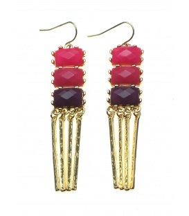 Paars met roze oorbellen met goudkleurige staafjes