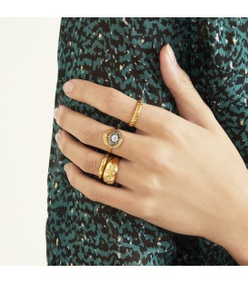 Goudkleurige dikke ring met kleine steentjes (16)