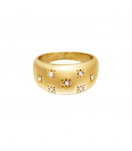 Goudkleurige dikke ring met kleine steentjes (17)