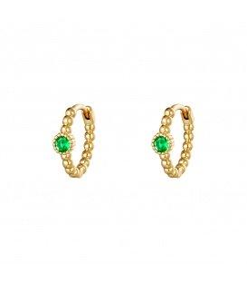 Goudkleurige oorringen met een groen strass steentje