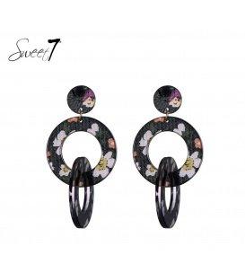 Zwart gekleurde oorbellen met 2 ringen