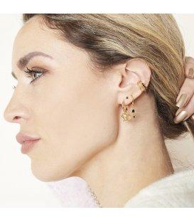 Zilverkleurige drielaags earcuff met kleine glinsterende steentjes