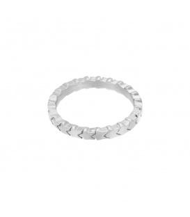 Zilverkleurige ring met sterren (maat 18)