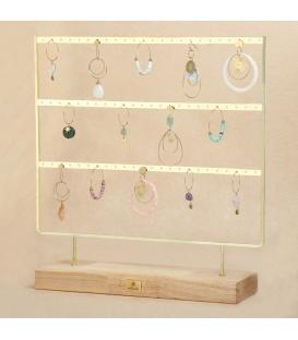 Goudkleurige displayrek dat ruimte biedt voor 72 oorbellen ( 36 paar)