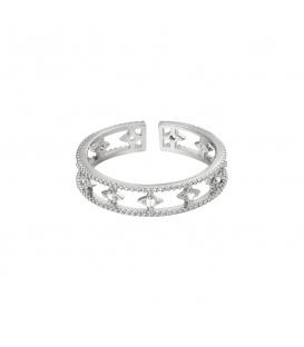 Zilverkleurige ring met fonkeltjes met steentjes