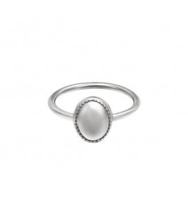 Zilverkleurige ring met een ovale steen (16)