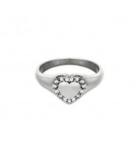 Zilverkleurige ring met een hart en steentjes (18)