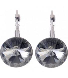 Swarovski oorbellen met antraciet strassteen 12 mm