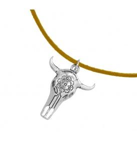 Leder korte bruine koordhalsketting (choker) met buffelhoofd hanger