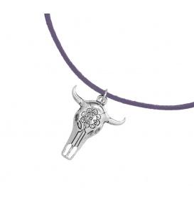 Leder grijze korte koordhalsketting (choker) met buffelhoofd hanger