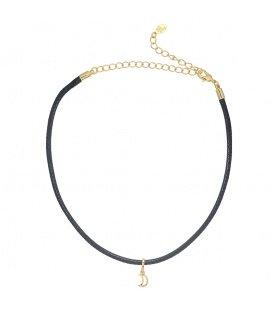 Zwarte trendy choker met hanger in de vorm van een goudkleurig maandje