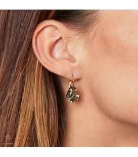 Mooie oorhangers met een grijze sprankelende steen
