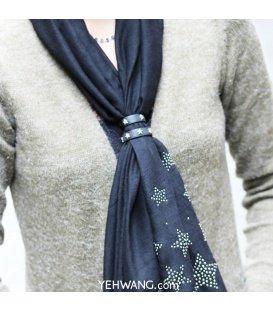 Zilverkleurige sjaal riempjes voor het dragen van een sjaal ( set van 2 )