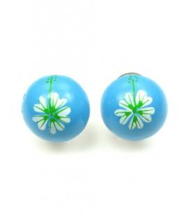 Blauwe halfronde oorclips met bloem opdruk