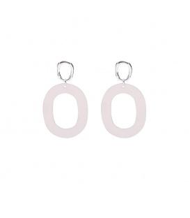 Grijze ovale oorbellen met een open zilverkleurig oorstukje