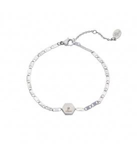 Zilverkleurige armband met zeskantige bedel met een palmboom