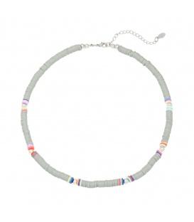 Grijs gekleurde halsketting van rubberen platte kralen