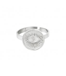 Verstelbare zilverkleurige ring met een oog