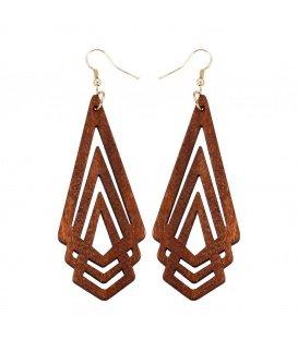 Oorbellen in driehoekige geometrische vorm gemaakt van hout