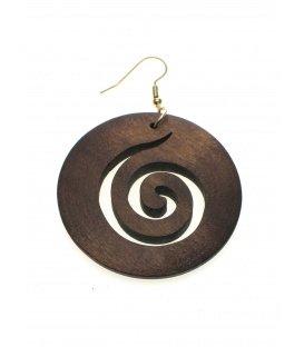 Houten bruine oorbellen in ronde vorm