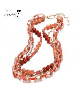 Rood gekleurde halsketting van 3 strengen