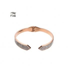 Roségoudkleurige spang armband met punten aan de uiteinden en kleine steentjes