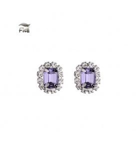 Zilverkleurige oorbellen met paarse schitterende steen