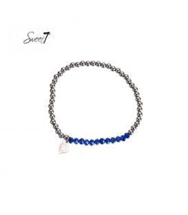 Elastische armband met zilverkleurige en blauwe kralen