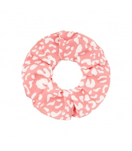 Pastel roze scrunchie met wit patroon