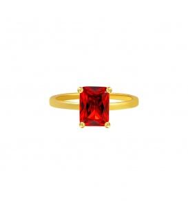 Goudkleurige ring met rode vierkante steen (16)