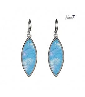 Blauwe oorbellen met een zilverkleurige rand en met leer ingelegd